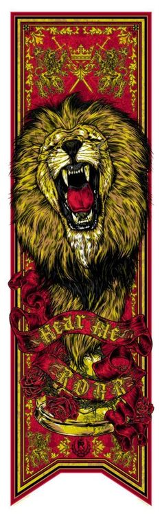 "Game of Thrones: House Lannister Banner (""Hear me Roar"") by Studio Seppuku #got #gameofthrones #fanart"