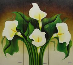 green and white lilies spanish Art Painting | Click Pin It to share this on Pinterest! Product ID: 159788