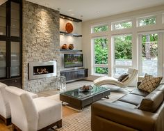 Contemporary Ventless Gas Fireplace Ideas for Your Home Design : Contemporary Living Room With Contemporary Ventless Gas Fireplace  And Leather Armchair