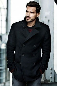 Double breasted black pea coat men