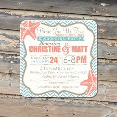Engagement Party Invitation Coasters - Craft Paper Envelopes.