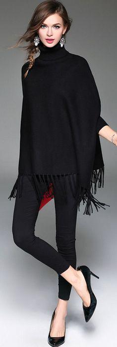 Black Flared Sleeves Fringed Oversized Turtleneck Sweater