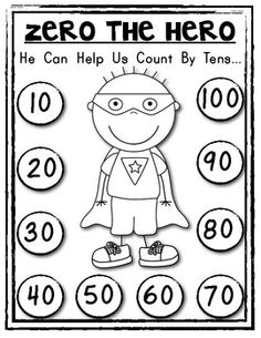 "100th DAY FUN! ZERO THE HERO Poster and Student Math Helper! Count by Tens. You get blk/white and color copies ...with ""write in"" options too! $"