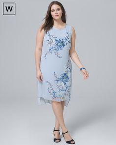 06a6b969cd0237 White House Black Market Plus Floral-Overlay Shift Dress