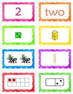 Number Cards Matching Game: Bright colorful cards showing each number 8 different ways - numeral, number word, dice, base ten blocks, objects, tally marks, ten frames, and dominoes. This set includes numbers 1-20. Choose two or more ways to represent each number and use them in a matching game, take one color card (green dice, for example) for each number an have kids put them in number order...the things you could do with these are endless!!!