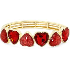 Liz Claiborne Red Heart Stretch Bracelet ($20) ❤ liked on Polyvore featuring jewelry, bracelets, stretch jewelry, liz claiborne, heart bangle, heart shaped jewelry and heart jewelry