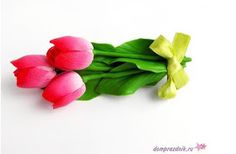 """Заколка для волос из полимерной глины """"Розовые тюльпаны"""" мастер класс"""