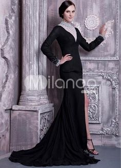 Black Chiffon Long Sleeves Front Splitting Prom Dress. If youre a fan of vintage-inspired fashions, this stunningly elegant dress is perfect for you. It features a deep V neck bodice with a sheer insert that is heavily embellished with rhinestones, sequins and beads. The .. . See More Colorful Prom at http://www.ourgreatshop.com/Colorful-Prom-C945.aspx