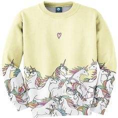 Aloha From Deer - Unicorn Sweatshirt ($79) ❤ liked on Polyvore featuring tops, hoodies, sweatshirts, low top, cotton sweatshirts, loose tops, loose cotton tops and unisex sweatshirts