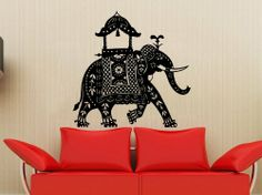 Animal Elephant Patterns Art Indian Design Wall Vinyl Decal Art Sticker Home Modern Stylish Interior Decor for Any Room Smooth and Flat Surfaces Housewares Murals Design Graphic Bedroom Living Room (4132)
