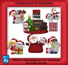 I Want A Hippo For Christmas For Xmas Template Bundle. Clipart Templates for Scrapbooking.  For Digital Scrapbooking, Clipart, Creating Cards & Printables.    Comes PSD Format  For Use in Photoshop and Graphics Programs