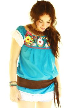 Handmade Mexican embroidered dresses and vintage treasures from Aida Coronado Embroidered Mexican Birds Blouse A heart in every piece