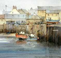 """David Howell, """"Low Tide,"""" ca. Watercolor Pictures, Watercolor Sketch, Watercolor Artists, Watercolor Landscape, Landscape Paintings, Watercolor Paintings, Painting & Drawing, Watercolours, Landscapes"""
