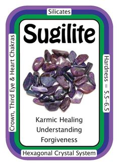 "Crystal Card of the Day: Sugilite, ""I send love and healing energy through all of my auric fields."" Sugilite is a major spiritual stone, promoting individual as well as universal love. Sugilite is said to help with understanding the ""big questions""..."