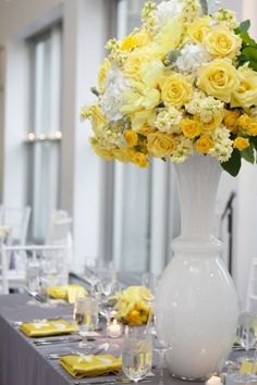 I think that grey and yellow are one of the classical schemes for wedding decor – colorful and elegant. Such a color scheme is ideal for a spring wedding when you are tired of winter and want colors so much, or for a bright summer wedding . Yellow Wedding Colors, Yellow Grey Weddings, Gray Weddings, Summer Weddings, Yellow Theme, Spring Wedding, Grey Wedding Decor, Mod Wedding, Dream Wedding