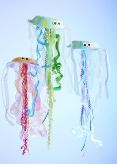 Jellyfish Bowls out of large paper bowls, ric rac ribbon and organza ribbon.  How cool is that?
