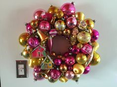 Vintage Christmas Ornament Wreath Pink & Gold with Alpine Village and Knee Hugger Elf - Shiny Brite by Kitschland on Etsy https://www.etsy.com/listing/209257594/vintage-christmas-ornament-wreath-pink