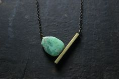 Modern Geometric necklace Minimalist Raw brass tube necklace chrysoprase necklace-Geometric pendant necklace-brass geometric necklace by xuanqirabbit on Etsy