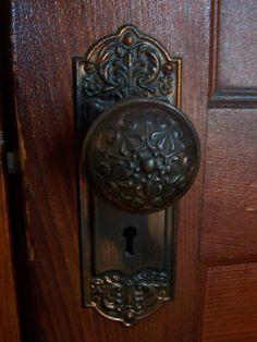 largo design door set with decorative oval door knobs antique