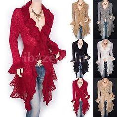 Stunning-Ruffled-Floral-Applique-Tiered-Hem-Cardigan-Long-Sweater-Jacket