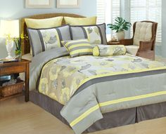 Bednlinens Peony-B 8 pc set Bed in a Bag Comforter/King - Yellow And Gray Comforters