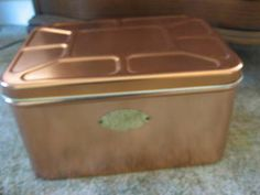 Vintage Copper Bread Box w/ Engraved Brass Label French Country-Very Clean