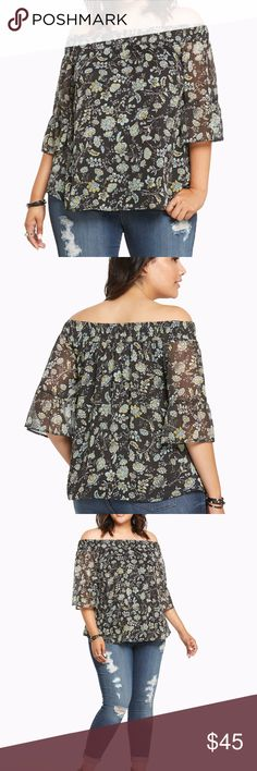 Floral Print Chiffon Off Shoulder Top 4X 26 You and this top deserve each other. The ethereal black chiffon is draped oh-so-delicately in a peasant silhouette (complete with bell sleeves and smocked off shoulders). A green and yellow floral print keeps up the dreamy look. Fully lined. Polyester Wash cold, dry low torrid Tops Blouses