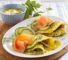 Kräutercrêpes mit Lachs und Honigsoße Rezept