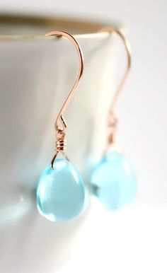 Items similar to Rose gold earrings glass, Sky blue glass earrings, blue drop earrings, aquamarine color earrings, blue stone earrings Paka Ua Plump Sky on Etsy Rose Gold Jewelry, Rose Gold Earrings, Wire Jewelry, Bridal Jewelry, Jewelry Crafts, Jewelry Necklaces, Unique Jewelry, Jewelry Accessories, Jewelry Design