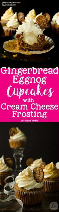 Gingerbread cupcakes with an Eggnog Filling and Cream Cheese Frosting!!! Oh my!! Yum! Super soft, moist gingerbread spiced cupcakes with a perfect crumb and an amazingly festive flavor profile, filled with a creamy eggnog pastry cream filling and a fluffy cream cheese frosting! Perfect for the Holiday season or any gingerbread fan!