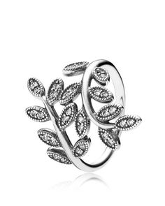 Leaves look luxe in glittering cubic zirconia with this eye-catching ring from Pandora. | Sterling silver/cubic zirconia | Imported | Style #190921CZ-52 | Photo may have been enlarged and/or enhanced