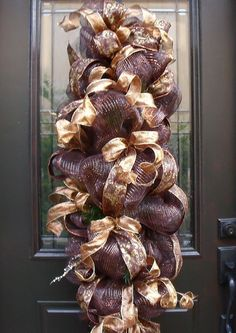 Gold and Copper Fall/Christmas Deco Mesh Wreath/Swag/Mantle Decor
