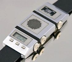 Sinclair FM Radio Watch. 1984. The three seperate cases hold an LCD Watch piezoelectric speaker and FM Tuner. The aim was to design the first/smallest FM Radio Watch in the world. Via RetroThing by @neontalk on Instagram http://ift.tt/2554XLR