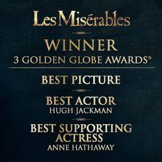 Les Mis (2012) | Winner 3 Golden Globe Awards: Best Picture, Best Actor, Best Supporting Actor.
