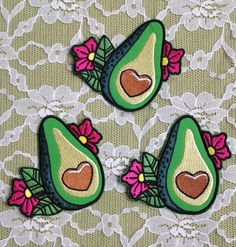 ❀ Stop, guac, and roll! ❀ Iron On Avocado Patch with Heart Center and Flowers ❀ Traditional Tattoo Style ❀ @ fever.dream.boutique on IG ❀