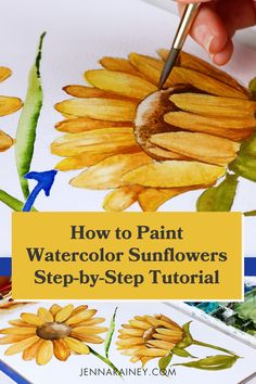 How to paint sunflowers step by step watercolor tutorial. I show you two different perspectives—front-facing and a side view.Now the varying perspectives and details on this one may look super advanced. But it's beginner-friendly, too! Why? Because I show you how to break it down into simple shapes. Watercolor Flowers Tutorial, Step By Step Watercolor, Watercolor Tips, Watercolour Tutorials, Watercolor Techniques, Painting Tutorials, Painting Tips, Watercolour Painting, Sunflower Sketches