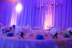 Wedding. Romantic atmosphere of wedding dinner. Blue light and decoration. Wedding table. Ideal for winter wedding. #wedding #winterwedding #bluewedding #weddingdinner #weddingtable photo by www.filipfoto.eu  catering and decoration by www.catering5s.sk