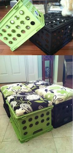 Easy & Cheap DIY Dorm Decor Ideas Here are 25 cheap and easy DIY projects that will help you turn a dorm room into a space that feels like home.Here are 25 cheap and easy DIY projects that will help you turn a dorm room into a space that feels like home. Milk Crate Seats, Milk Crates, Crate Stools, Seat Crates, Crate Ottoman, Wooden Crates, Crate Bench, Dog Crate, Bed Bench