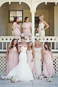 rosa zart chiffon lange Brautjungfernkleider elfenbein