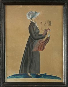 PAIR OF DOUBLE PORTRAITS OF A YOUNG MAN AND WOMAN WITH THEIR CHILDREN AND DOG. The woman depicted holding a baby in red gown -