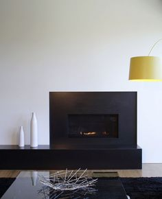 Geddes House by Splyce Design, fire place, modern style, black and white