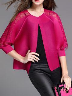 #AdoreWe #StyleWe Cropped Jackets - KK2 H-line Simple Pierced 3/4 Sleeve Crew Neck Cropped Jacket - AdoreWe.com