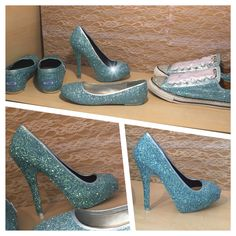 Womens Sparkly metallic ice CINDERELLA blue glitter high or low heels peep toe or pumps heel shoes wedding bride prom sweet 16 by CrystalCleatss on Etsy