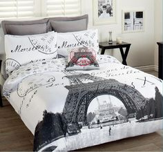 Paris Eiffel Tower Comforter Set | ... 3pcs Double Bed Paris France Eiffel Tower Quilt Cover Set-Eiffel Tower