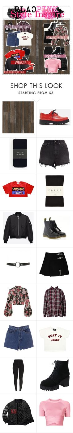 """""""❇️  Style Inspire by Blackpink"""" by moonlightgir-lccx ❤ liked on Polyvore featuring NLXL, Sofie D'hoore, J.Crew, Ksubi, Falke, Yves Saint Laurent, Dr. Martens, Converse, Jill Stuart and UNIF"""