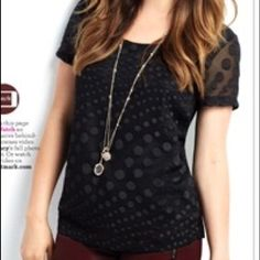 mark. Dot Noir Blouse NWOT (Never Worn) Dressy Short Sleeve Black Polka Dot Blouse...Boxy Shape...Sheer with Attached Lining...100% Polyester...Size XL but absolutely fits better as a Large...Comment for more details or bundling options! (Cover Photo courtesy of avonladynj.com) Avon Tops Blouses