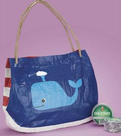 A whale of a beach tote :) Made with @Duck Brand duct tape!