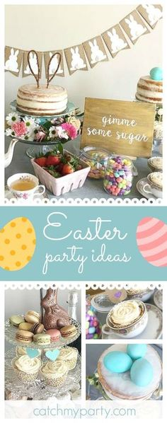 Take a look at this pretty Easter Tea Party! The dessert table is adorable!! See more party ideas and share yours at CatchMyParty.com
