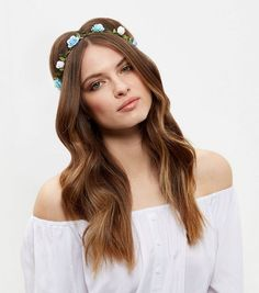 Mint Green and Blue Flower Hair Garland   New Look