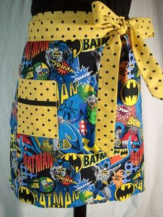 Women's Half Hostess Apron Made From Batman Fabric - Batman, Robin, Joker. $20.00, via Etsy.